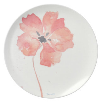 Placa roja de la flor de la amapola plato de cena