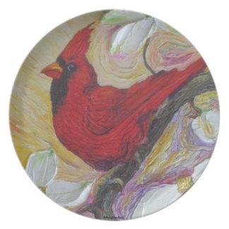 Placa roja de la flor del cardenal y del Dogwood Plato