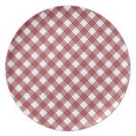 Placa roja de la guinga plato para fiesta