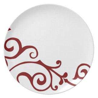 Placa (roja) de la marfil del cirro platos de comidas