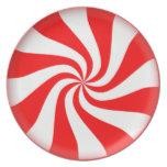Placa roja de la melamina del caramelo de plato de cena