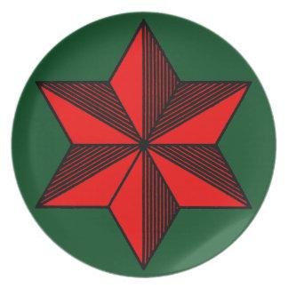 Placa roja de la melamina del navidad de la plato de comida