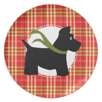 Placa roja de la tela escocesa del navidad del per platos