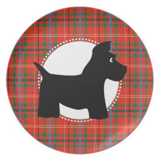 Placa roja de la tela escocesa del perro del escoc platos para fiestas
