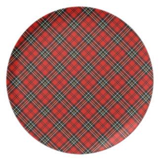 Placa roja de la tela escocesa del vintage platos de comidas