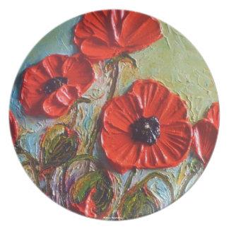 Placa roja de las amapolas de París Platos