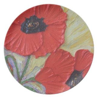 Placa roja de las amapolas plato de cena