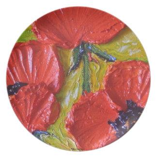 Placa roja de las amapolas plato de comida