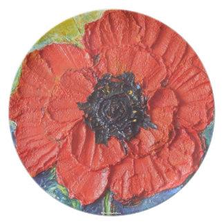 Placa roja de las amapolas plato para fiesta