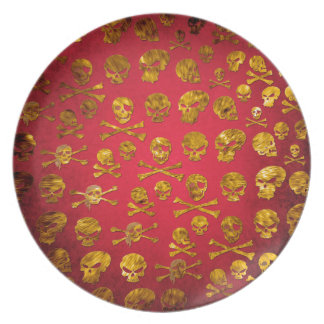 Placa roja de los cráneos del pirata plato