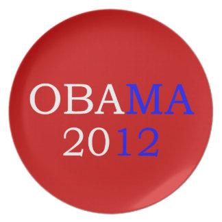 Placa roja de Obama 2012 Platos