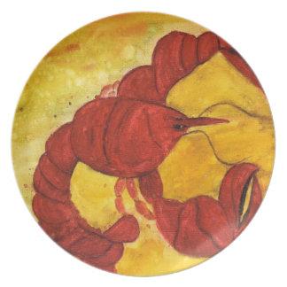 Placa roja del arte de la langosta plato de comida