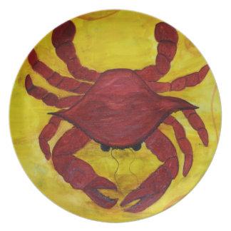 Placa roja del cangrejo platos de comidas