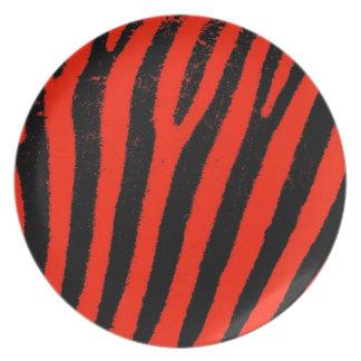 Placa roja del melanine de la cebra platos para fiestas