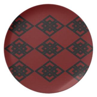 Placa roja del melanine del modelo del diamante platos
