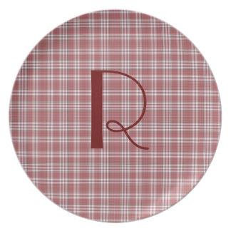 Placa roja del monograma de la tela escocesa plato