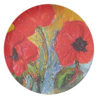 Placa roja del trío III de la amapola Platos De Comidas