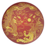 Placa roja del vintage del oro de Phoenix del drag Plato De Cena