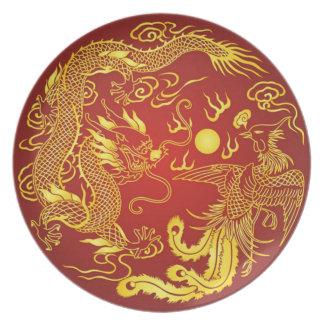 Placa roja del vintage del oro de Phoenix del drag Platos De Comidas