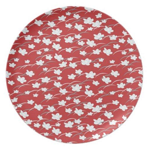 Placa roja inconsútil de la melamina del flor plato de cena