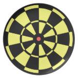 Placa roja negra amarilla de la diana del Dartboar Plato De Cena