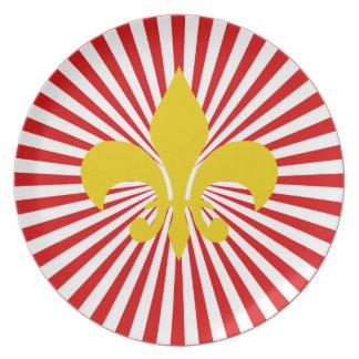 """Placa roja y amarilla de la """"flor de lis"""" plato"""