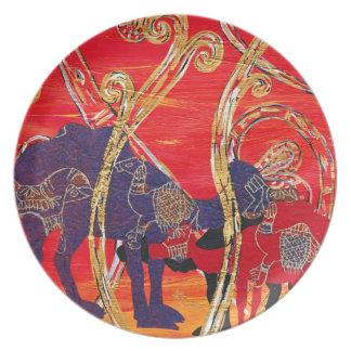 Placa roja y azul de los camellos plato de comida