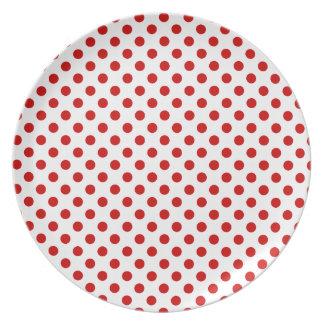 Placa roja y blanca de las celebraciones del lunar platos de comidas