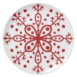 Placa roja y blanca del copo de nieve plato