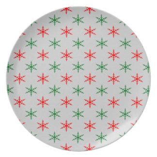 Placa roja y verde del modelo del copo de nieve platos para fiestas