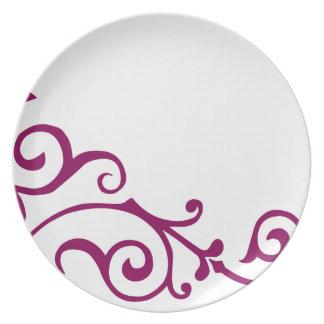 Placa (Rojo-Violeta) de la marfil del cirro Plato Para Fiesta