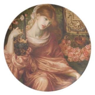 Placa romana del jugador de la arpa de Rossetti Platos De Comidas