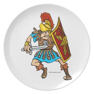 Placa romana del soldado plato de comida