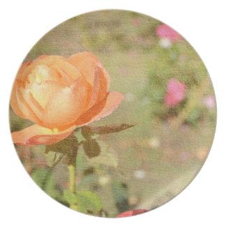 Placa romántica subió melocotón platos