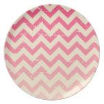 Placa rosada agrietada de la melamina del zigzag d plato para fiesta