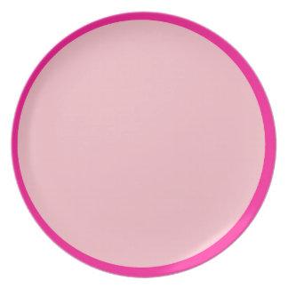 Placa rosada caliente y del clavel platos de comidas