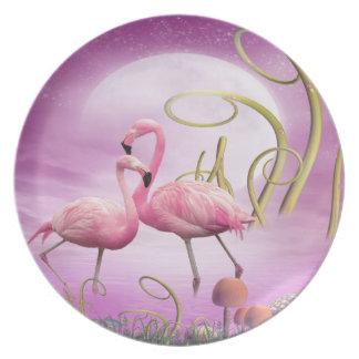 Placa rosada caprichosa de los flamencos platos de comidas