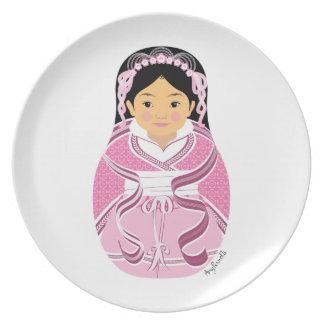 Placa rosada china de Matryoshka del chica de HanF Platos De Comidas