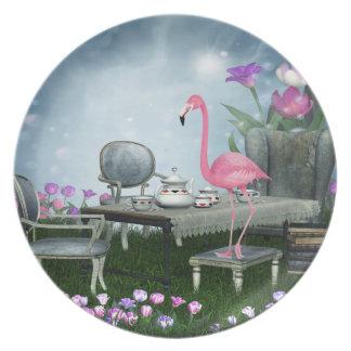 Placa rosada de la fiesta del té del flamenco del platos de comidas