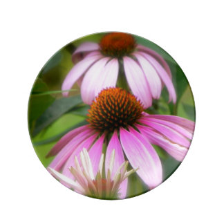 Placa rosada de la flor del cono platos de cerámica