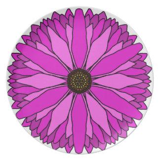 Placa rosada de la flor plato de cena