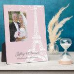Placa rosada de la foto del boda de la torre Eiffe