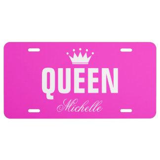 Placa rosada de la reina con nombre personalizado placa de matrícula