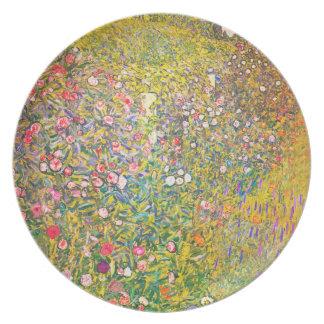 Placa rosada de las flores de Gustavo Klimt Platos Para Fiestas