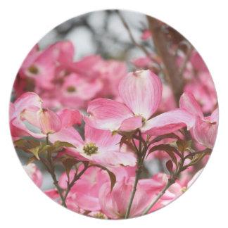 Placa rosada de las flores plato para fiesta