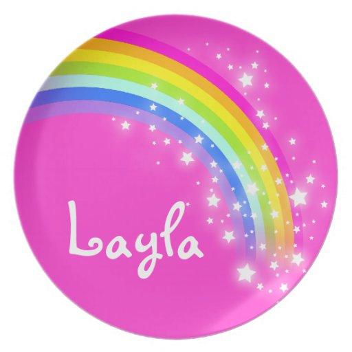 Placa rosada de los niños de los chicas de Layla d Platos Para Fiestas