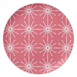 Placa rosada de Starburst de la frambuesa Plato De Cena