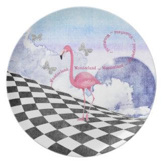 Placa rosada del arte de la fantasía del flamenco platos