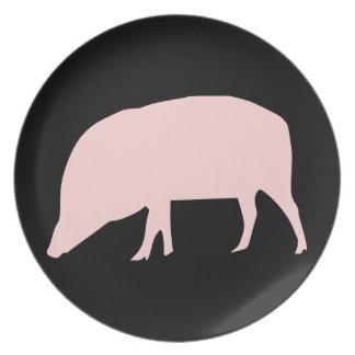 Placa rosada del cerdo platos para fiestas
