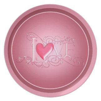Placa rosada del el día de San Valentín del amor Plato Para Fiesta